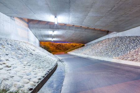 brige: Under the bridge whit big road for bicycles Stock Photo