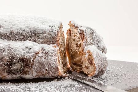 stollen: Traditional German Christmas cake. Stollen. Selective focus.