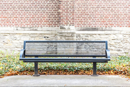 duckboards: on an platform there is an iron street bench where you can rest cozy
