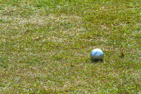bocce ball: iron ball of the petanque game on grass