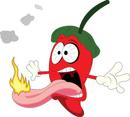 Pimiento rojo de la pizca de la llama en la lengua Foto de archivo - 42690196