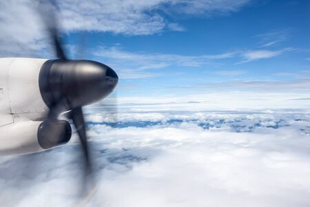 propellers: an aircraft wing with a motor-driven propellers