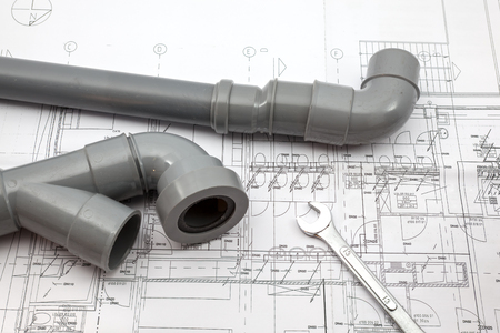 on a plan of a house there is work tools and work equipment Standard-Bild