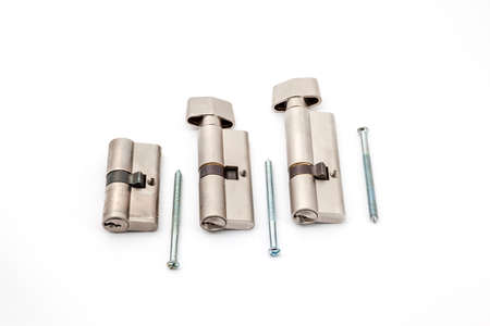 cylinders: three different cylinders on white with screws