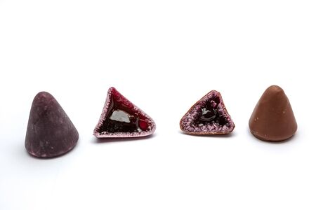 nicety: Pyramid shape of an cuberdons is a very tasty candy from Ghent in chocolate