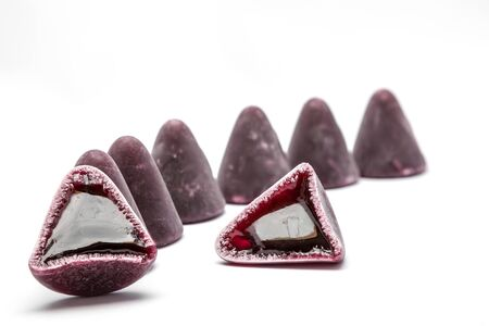 nicety: Pyramid shape of cuberdons is a very tasty candy from Ghent Stock Photo