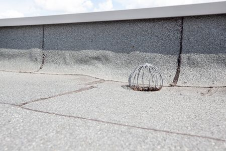 tar felt: on an flat roof drain is that in order to hold against leaves