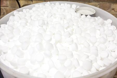 an barrel of salt blocks for the softener 스톡 콘텐츠