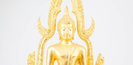 withe: an wisdom Buddha in close up whit an withe background Stock Photo