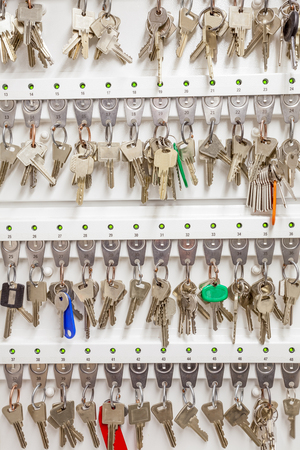 key cabinet: an electronic key cabinet with different keys Stock Photo