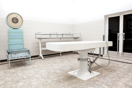 examiner: Autopsy antique tables in the morgue in clinic
