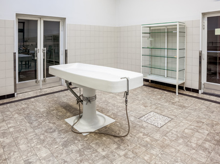 morgue: Autopsy antique tables in the morgue in clinic