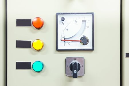 switches: electric board with switches and measurement and indicators Stock Photo