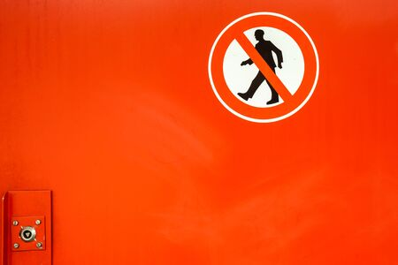 dont walk: in a tunnel there are red doors with prohibitory to get there Stock Photo