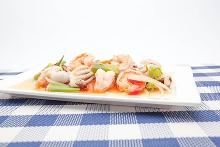 scampi: On an plate there is Thai food whit scampi and squid Stock Photo