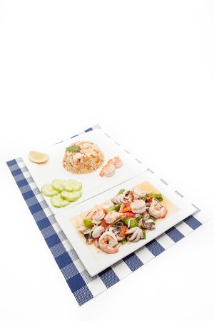 scampi: On an plate there is Thai food whit scampi