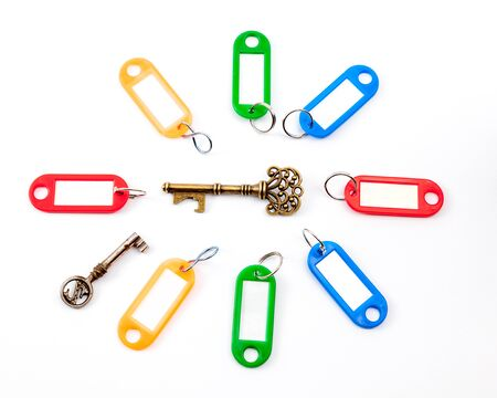 hotel chain: in the middle an antique key with different color labels