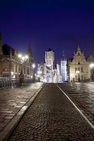 Belfry is one of the three towers of Ghent Stock Photo