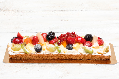 on an plate of delicious fruit tart Stock Photo