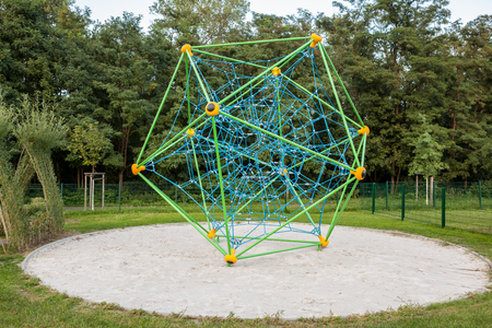 In the park in Germany is this climbing rack for playing children Stock Photo