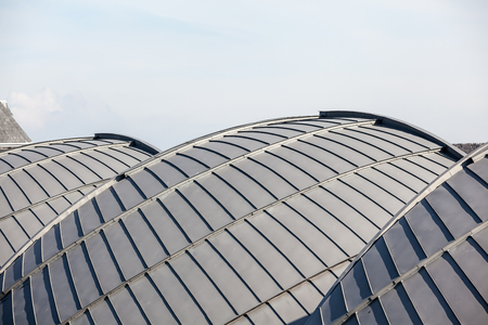 Three spherical roofs are covered with zinc Stock Photo