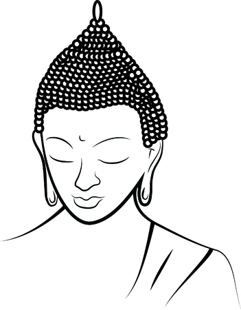 Buddha on white background Vectores