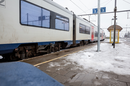 during the winter this train station is covered with snow