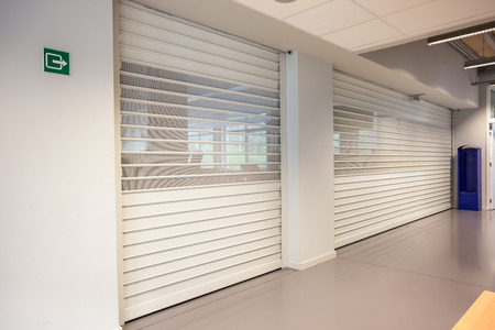 these roller shutters are closed on a high day Stock Photo