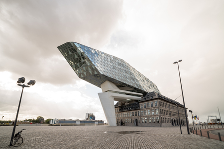 View on the new Port House (Havenhuis), the head office of the Antwerp Port Authority, designed by architect Zaha Hadid in the Belgium city of Antwerp
