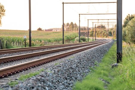 This track with electrical lines above runs in the distance of the landscape Archivio Fotografico