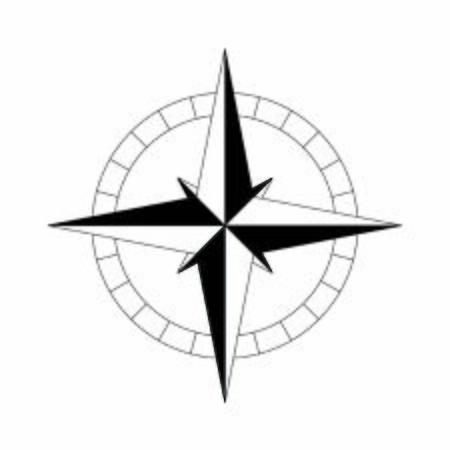 bussola semplice icona nera. Illustrazione vettoriale Vettoriali