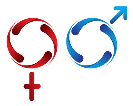 Female Male Gender Symbol Isolated, red and blue