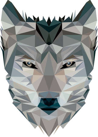 Wolf head in triangle cubes, a Ruler in the woods