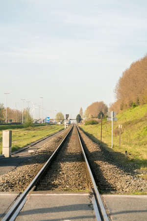 in the port area this single track runs for freight train.