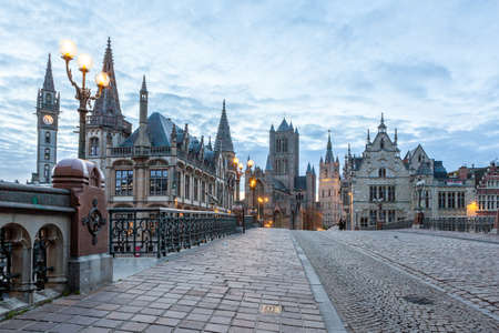 Belfry is one of the three towers of Ghent 스톡 콘텐츠