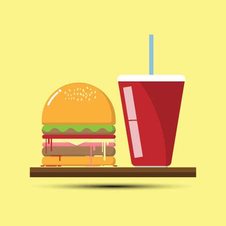 flat: Hamburger Flat Design, Vector illustration Illustration