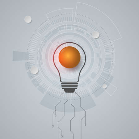 Vector Light bulb and abstract modern technology working together. Idea concept for business
