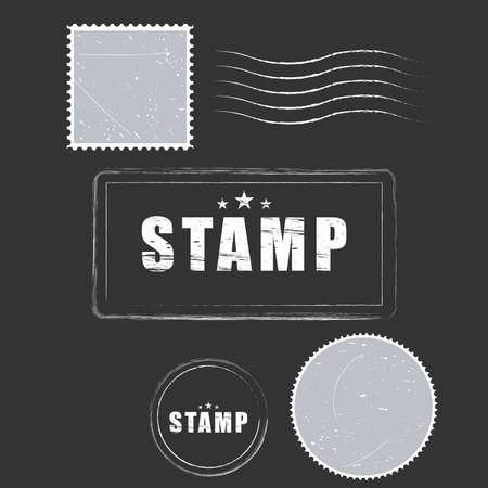 Vector paper blank postage stamps, vintage style Illustration