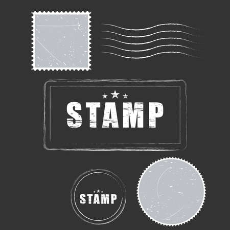 Vector paper blank postage stamps, vintage style Иллюстрация