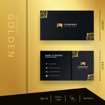 Modern black golden business card with luxury style and elegant template Vetores