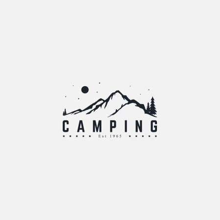Mountain expedition and adventure in nature logo . Forest camp area badge Illustration