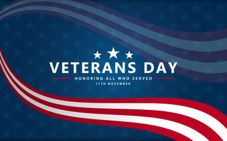 Veterans day poster background . Honoring all who served. Veterans day illustration with American flag and soldiers. November 11