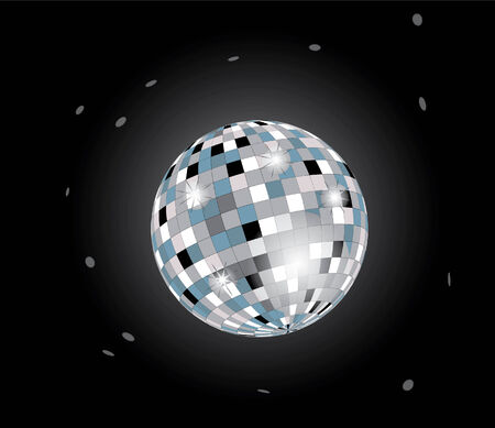 cray: bright disco ball on black background Illustration