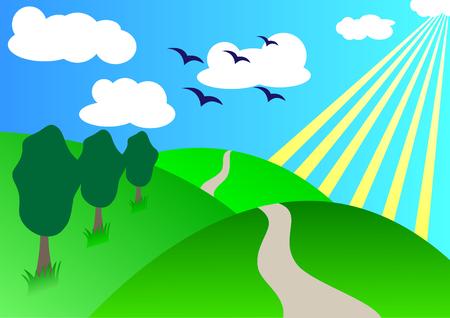 rural road: sunny summer day; clip-art