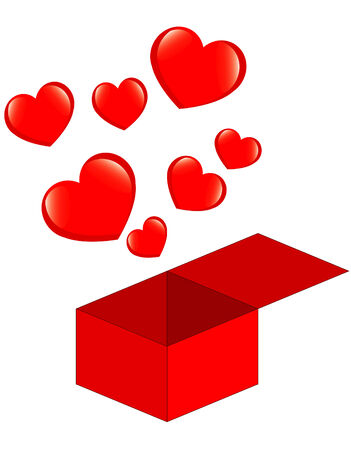 few red hearts flying from box