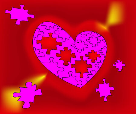 pink mosaic heart on background Vector