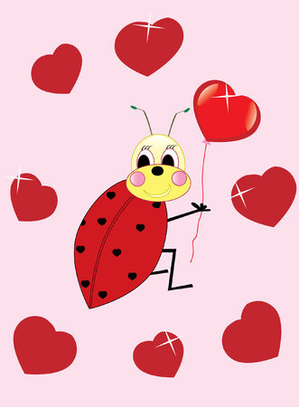 pretty ladybird with red heart Stock Vector - 4416082