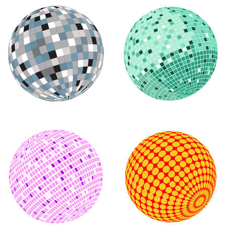 Vector disco ball set; clip-art Vector