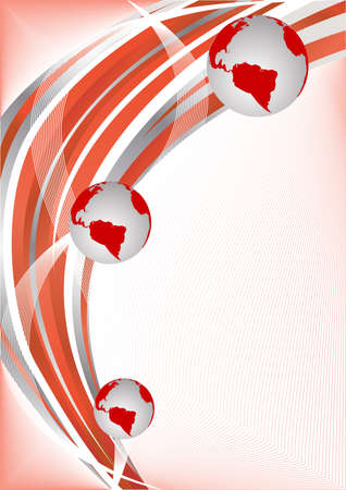 Vector red abstract background with globe; clip-art Vector