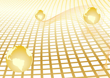Vector abstract background with gold globe; clip-art Vector